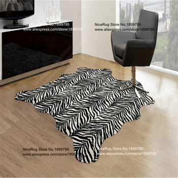 2 piece Zebra carpet Cowhide Rug Tiger leopard panda Giraffe wild Animal faux skin mat 160X140CM anti-skid Natural Latex backing